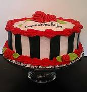 black, red and white cake