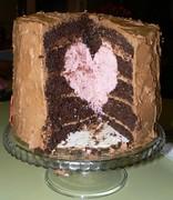 Valentine inside cake