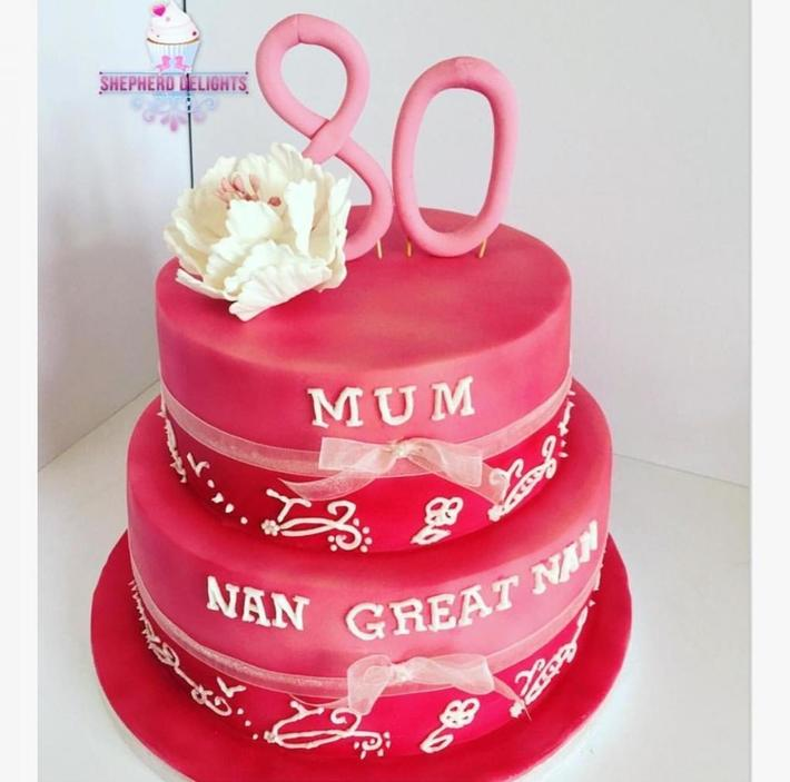 Pink Two Tier Birthday Cake