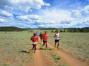 Tarahumara Arnolfo Quimare, Ultramarathoner Dave James and Custer County cross-country standout Corey Lewenkamp lead the way out for a preview of the course Wednesday evening.
