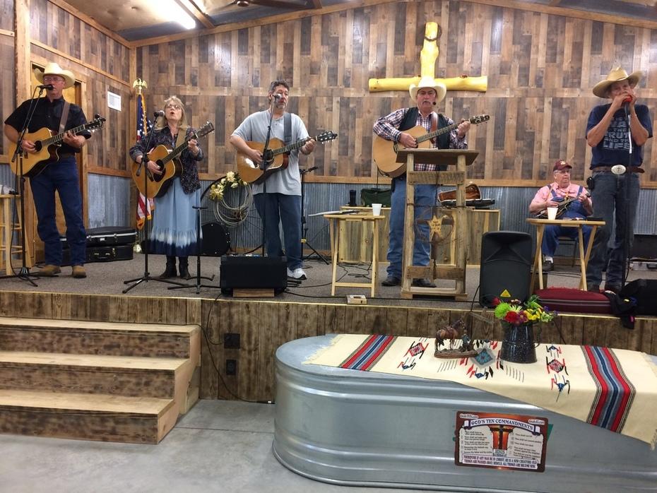 Sue Ann with the Western Way Cowboy Church Band