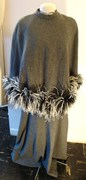 70's Wool Flannel Halter Evening Gown With Matching Cape