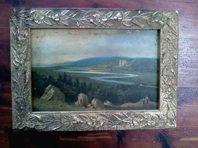 antique oil done on tin