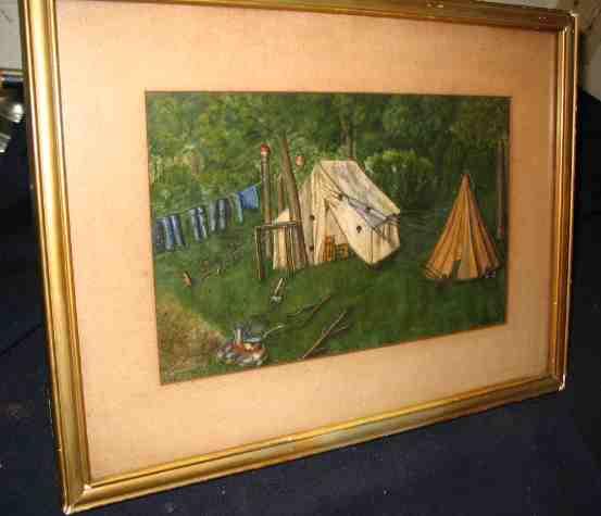 primitive campsite watercolor painting
