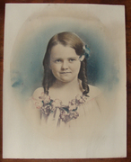 Early 20th century Girl with Flowers with Mid Century Painted Copy