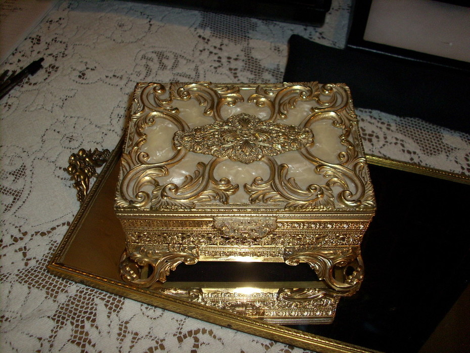 Antique Ormolu Jewelry Box