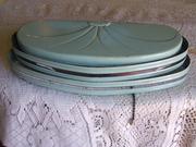 Vintage Blue Metal Headboard Lamp