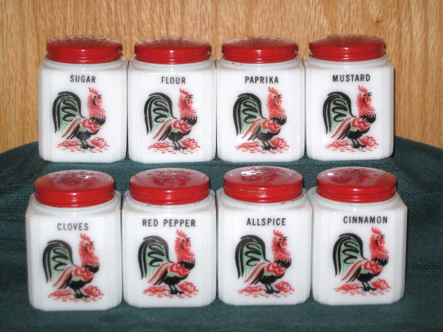 1940's Tipp City McKee Milk Glass Rooster Spice Shakers