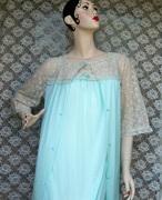 Vintage Ladies Green Penoir Set Nightgown Nightie Nightwear