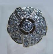 Antique Deco 14K Gold .47ct Diamond Large Ring