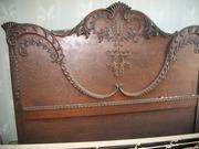 Antique Headboard Footboard & Mirror