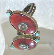 Red Jasper and Turquoise Art Deco Ring