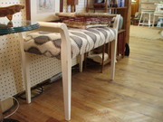 repainted and  upholstered bench