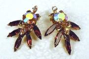 Vintage purple rhinestone clip earrings