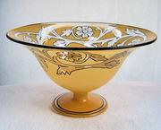bowl tiffin glass yellow black #179