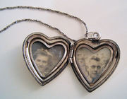 sterling silver heart picture locket 1940