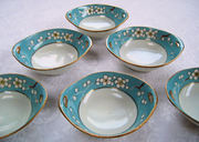 hand painted nippon individual open salts set six