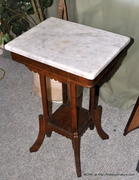 Marble Top Walnut Plant Stand