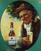 Vintage Hudepohl Beer Self Framed Tin Advertising Sign