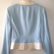 Vintage 2 Piece Skirt Suit-Soft Blue & Cream-The jacket