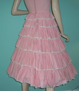 Vintage 1950's Sun Dress Tiered Pink Cotton Trimmed in Lace-