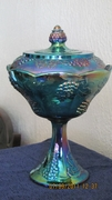 Blue Indiana Carnival Glass covered candy dish