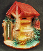 Vintage Wishing Well Chalk Wall Thermometer