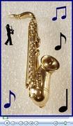 Vintage Rhinestone studded Saxophone lapel pin.