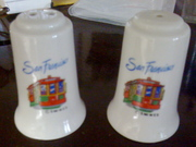 SOLD - San Francisco cable cars salt & pepper shakers