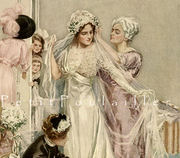 Harrison Fisher Edwardian Wedding 1912 Fashion Lithograph - Grooming The Bride