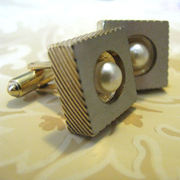 Hickok Cuff Links Gold and Pearl Links For Him or Her