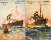 1930s Red Star Line postcards