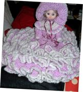 Pink and White dressed Bed Doll