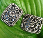 Antique French Shoe Buckles- Steel Cut Beads
