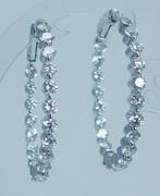 Estate Jewelry 18K White Gold Inside Out Diamond Earrings Hoops 2.94cts VVS-GH 1 3/16in