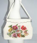 Vintage Pearl Seed Beaded Handbag