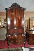 9 ft Dutch Marquetry Mahogany French Bombe Bookcase Secretary Ca 1780 - Copy