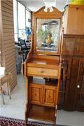 Rare Period Victorian Shaving Table Oak Maple Walnut Inlays Great Unique Antique