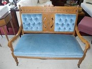Victorian Oak Settee, Tufted Velvet Back, Hand Crafted, Circa 1880
