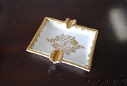 Hand Painted Gold Rose Floral Design Cigarette Ash Tray From France