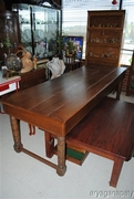 Large Antique Oak Plantation Table with Side Drawers In Fantastic Condition