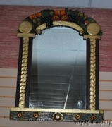 Hand Crafted Vintage Folk Art Style Wooden Painted Mirror with Fruit