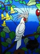 Stained Glass Window Panel, Framed, Cockatoo