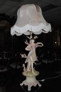 Victorian Italy Porcelain Boy Figurine Lamp. Table Lamp, Very Elegant Statement