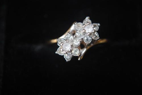 Diamond and 10K white gold ring