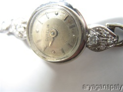 Gurelin, 14K White Gold Watch with 22 Diamonds