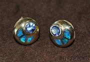 14K Yellow Gold Tanzanite & Black Opal Stud Earrings