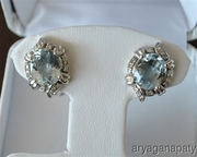 14K White Gold Oval Cut Aquamarine & Diamond Post Earrings