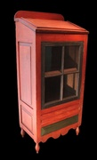 Diminutive Paint Decorated Standing Desk and Cupboard