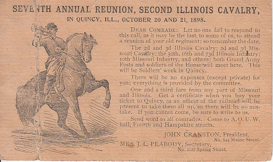 1898 7th Annual Reunion, Second Illinois Cavalry at Quincy IL